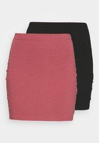 2 PACK - Mini skirt - black/pink