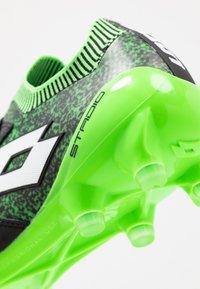 Lotto - STADIO 100 II FG - Botas de fútbol con tacos - all black/all white/spring green - 5