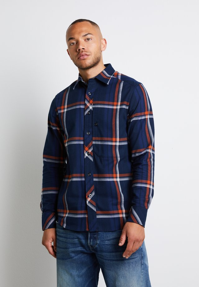 STALT REGULAR PATCH - Shirt - furdan stretch flannel check - cinnamon orange william check