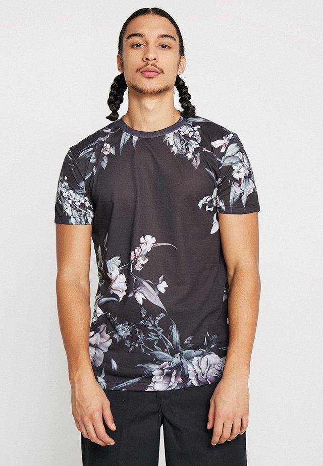 SINCLAR TEE - Printtipaita - black/white