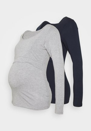LAINA 2PACK - Long sleeved top - grey/navy