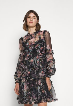 FLORAL DIAMOND RUFFLE DRESS - Cocktailjurk - graphite