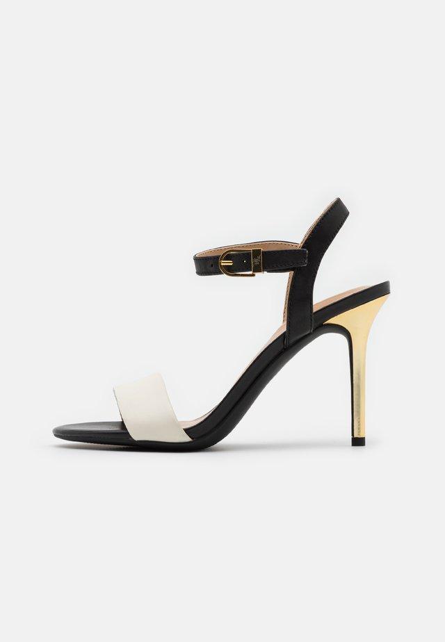 GWEN - Sandały na obcasie - vanilla/black/gold