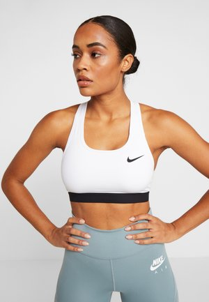 BAND BRA NON PAD - Medium support sports bra - white/black