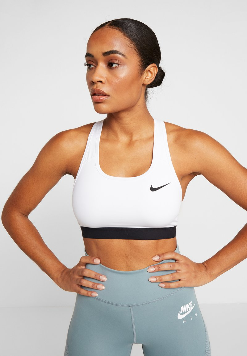 Nike Performance - MED BAND BRA NON PAD - Sports bra - white/black
