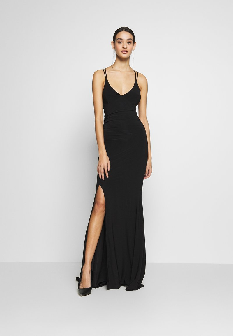 Club L London - DOUBLE STRAP CROSS BACK FISHTAIL MAXI DRESS - Ballkjole - black