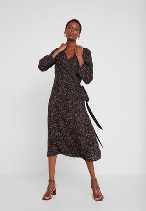 MIDI WRAP DRESS - Denní šaty - black