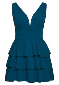 WAL G PETITE - PETITE V NECK DOUBLE DRILL DRESS - Day dress - teal blue - 1