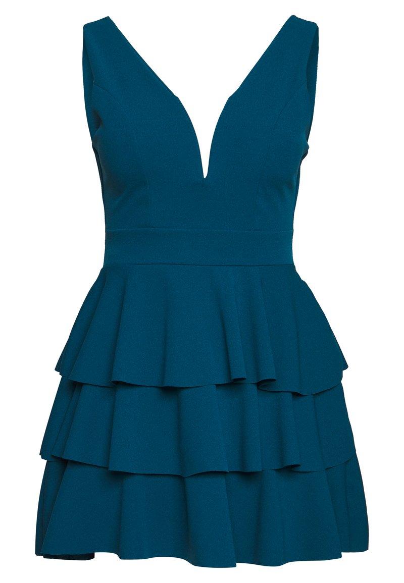 WAL G PETITE PETITE V NECK DOUBLE DRILL DRESS - Freizeitkleid - teal blue/blau UeOttR