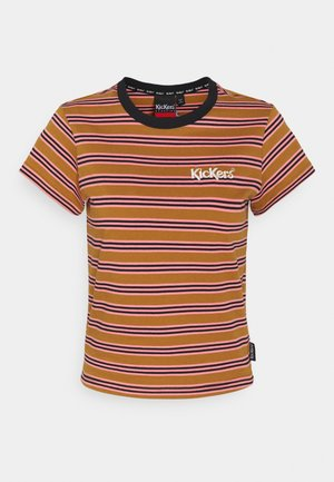 STRIPE RINGER TEE - Print T-shirt - brown