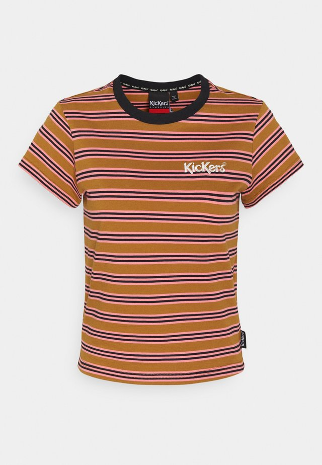 STRIPE RINGER TEE - T-shirt print - brown