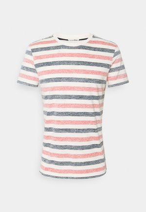 TEE INSIDE PRINTED STRIPE - Print T-shirt - red/navy/almond