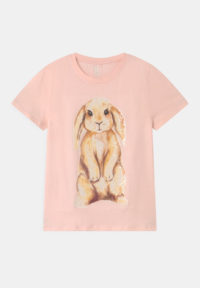 STEVIE EMBELLISHED  - T-shirt print - crystal pink/watercolour bunny