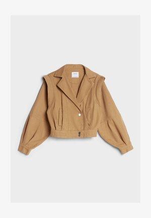 MIT PUFFÄRMELN - Denim jacket - ochre