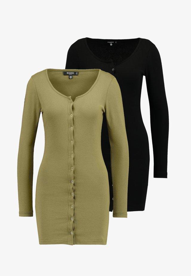 POPPER FRONT MINI DRESS 2 PACK - Tubino - black/khaki