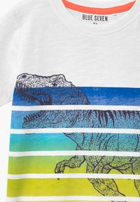 Blue Seven - SMALL BOYS T-REX DINOSAUR STRIPE - Print T-shirt - weiß - 2