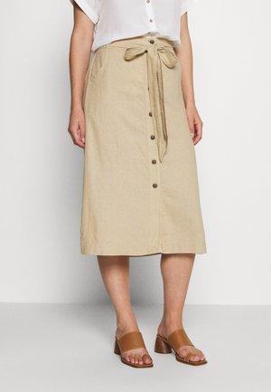V TIE FRONT MIDI SKIRT - A-line skirt - new sand