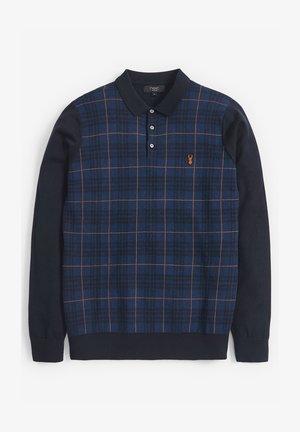 CHECKED KNITTED - Polo shirt - blue