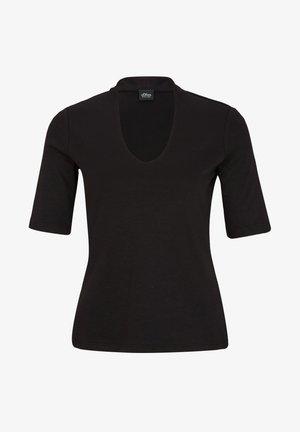 MIT V-AUSSCHNITT - Basic T-shirt - black