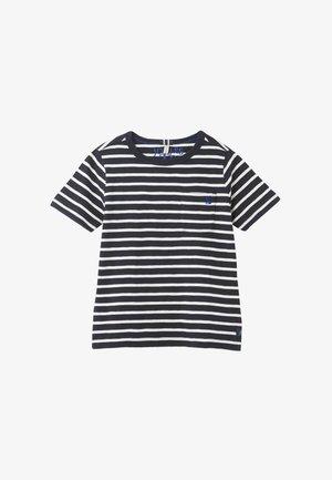 Print T-shirt - marineblau weiße streifen