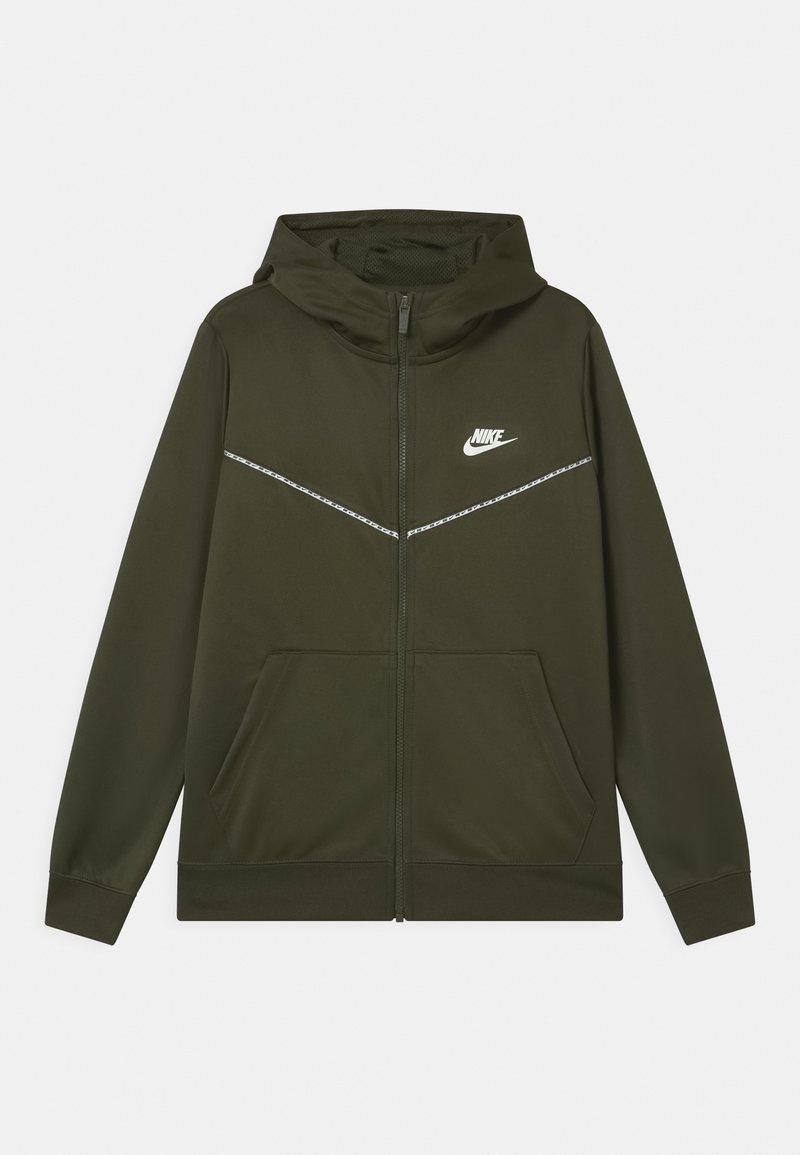 Nike Sportswear - REPEAT HOODIE - Träningsjacka - cargo khaki/white