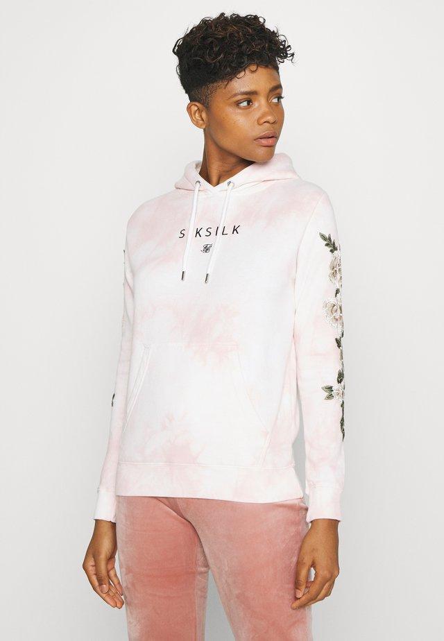 TYE DYE FLORAL OVERHEAD HOODIE - Bluza z kapturem - pink