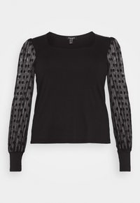 New Look Curves - SPOT SQUARE NECK - Top sdlouhým rukávem - black - 4