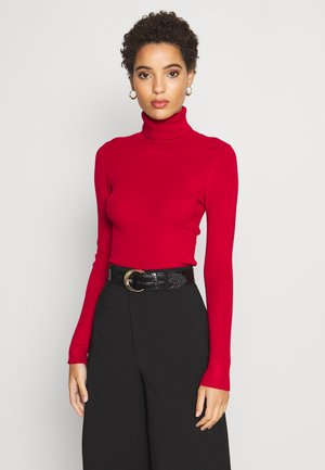 BASIC- RIBBED TURTLE NECK - Svetr - red
