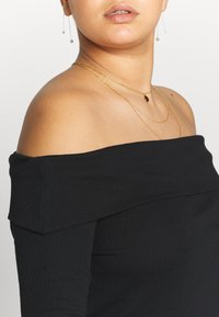 Simply Be - FOLD OVER BARDOT - Long sleeved top - black - 5