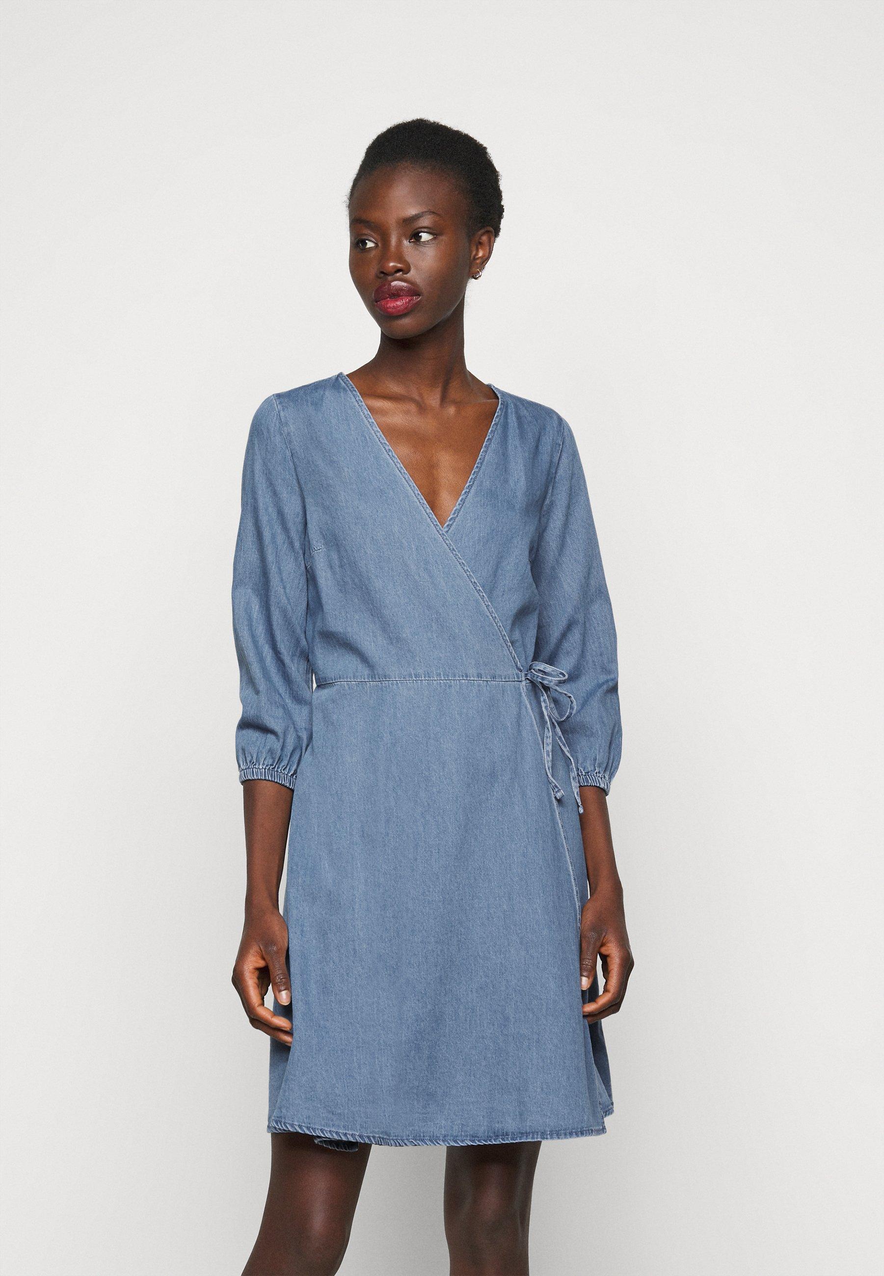 Damer VMHENNA WRAP SHORT DRESS - Jeanskjole / cowboykjoler