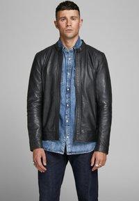 Jack & Jones PREMIUM - Leather jacket - black - 0