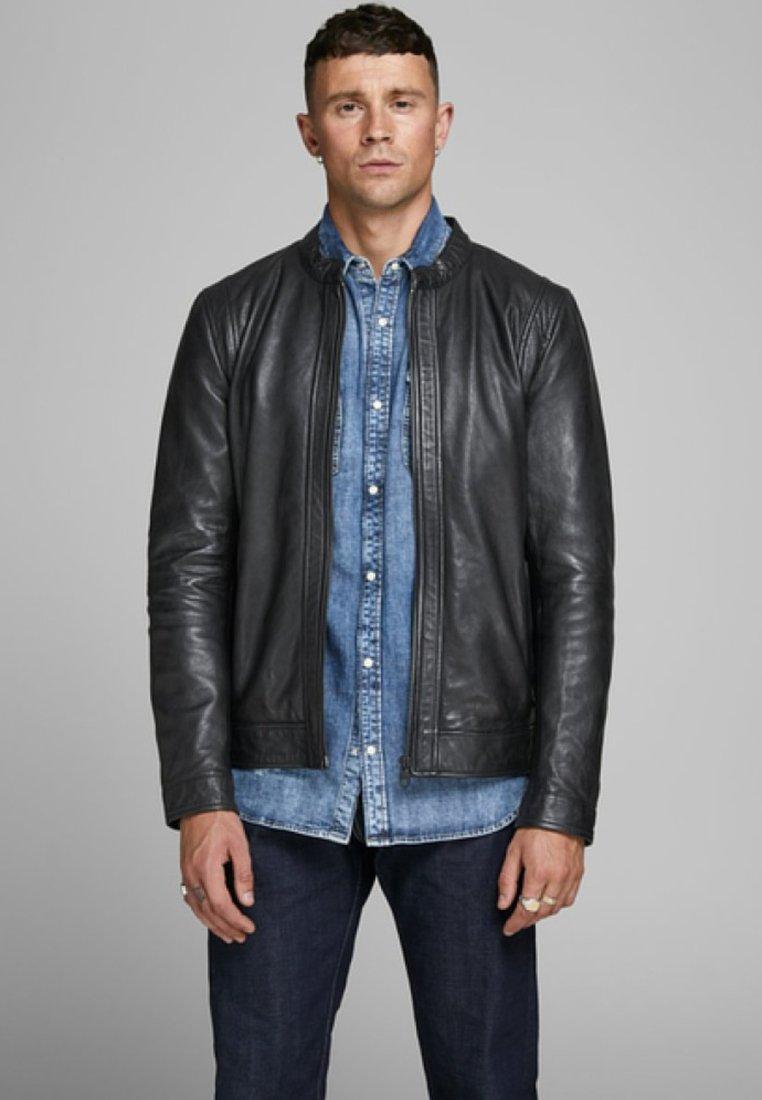Jack & Jones PREMIUM - Leather jacket - black