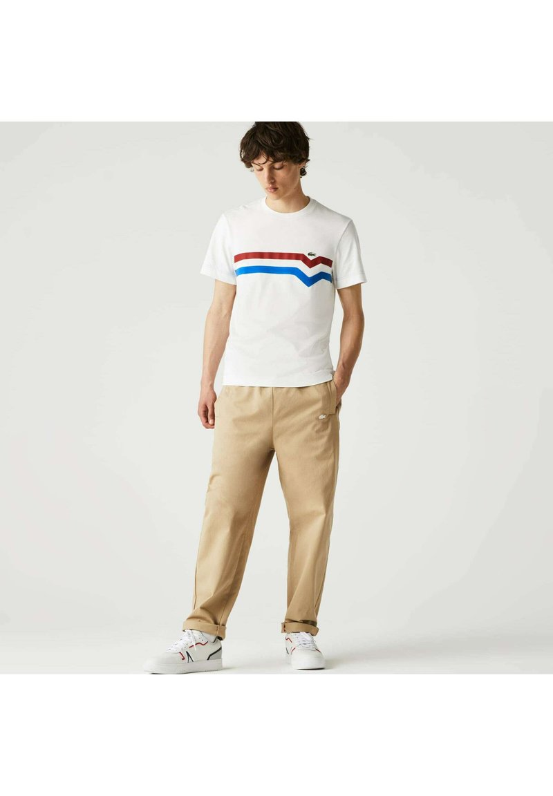 Lacoste - Print T-shirt - blanc/rouge/bleu