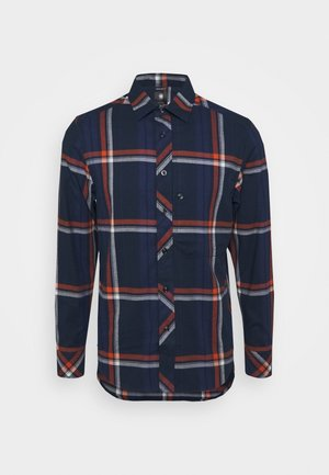 STALT REGULAR PATCH - Overhemd - furdan stretch flannel check - cinnamon orange william check