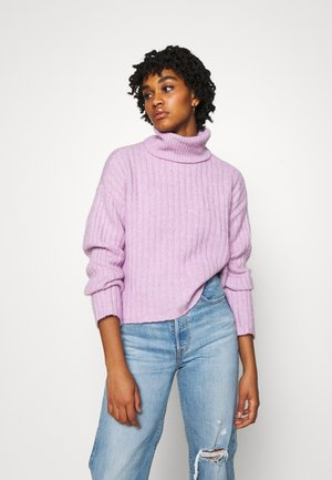RIBBED BOXY TURTLE NECK - Jumper - lilac breeze