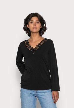 VMMILLA LACE V NECK TOP - Long sleeved top - black