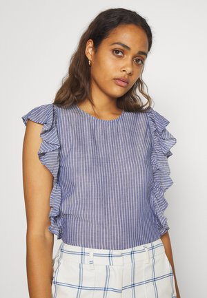 BOXY FITTED WITH RUFFLES - Blouse - blue/white