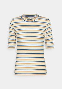 TOM TAILOR DENIM - STRIPED MOCKNECK TEE - Print T-shirt - creme/blue/yellow - 0