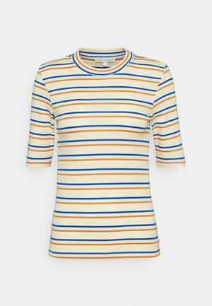 STRIPED MOCKNECK TEE - Printtipaita - creme/blue/yellow