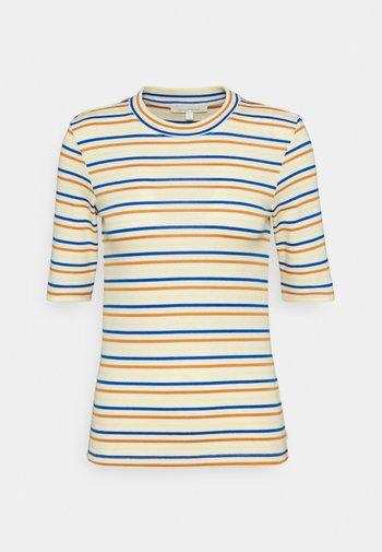 STRIPED MOCKNECK TEE - Print T-shirt - creme/blue/yellow