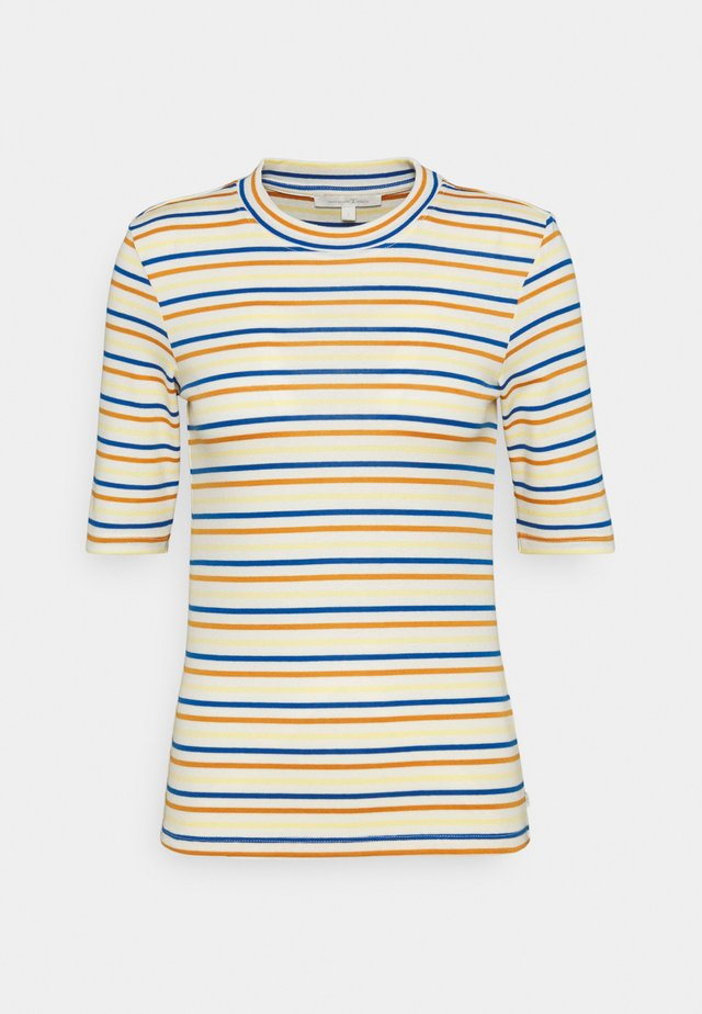 STRIPED MOCKNECK TEE - Printtipaita - creme/blue/yellow