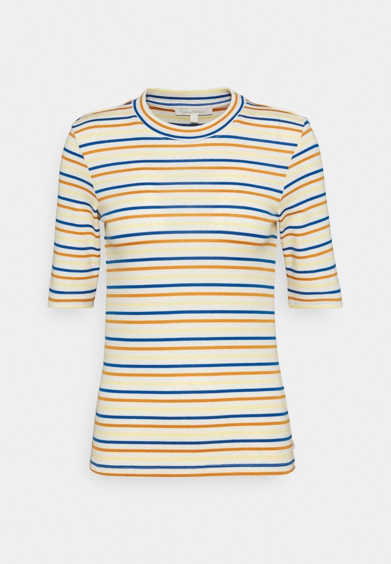 TOM TAILOR DENIM - STRIPED MOCKNECK TEE - Print T-shirt - creme/blue/yellow