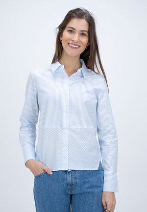 Button-down blouse - blue-white