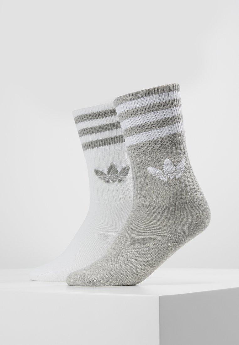 adidas Originals - SOLID CREW 2 PACK - Ponožky - medium grey heather/white