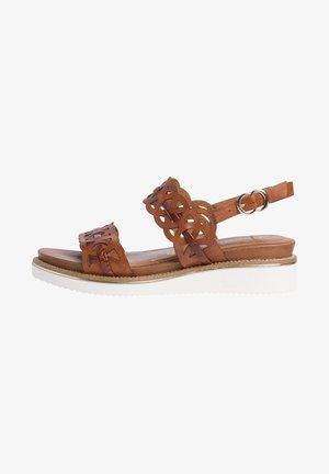 Sandalen met sleehak - cognac/croco