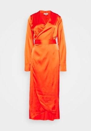 LONGSLEEVE WRAP DRESS - Korte jurk - tangerine