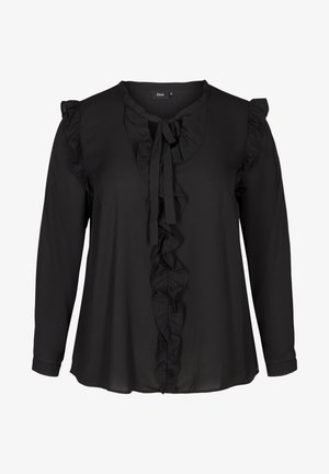 WITH RUFFLES - Blouse - black