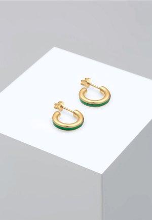 Creolen - Ohrringe - gold/grün