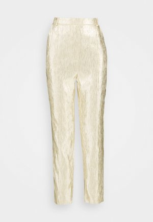 SHINY SUIT PANTS - Trousers - gold