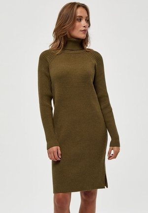 AVA TURTLENECK - Gebreide jurk - dark olive melange